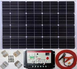 100w Solar Panel +10A Charger Controller + 7m cable + fuse battery clip +bracket