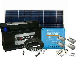 110Ah Leisure Battery, 175W Solar Panel, Charge Controller, Cable and Brackets