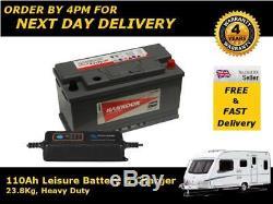 110Ah Leisure Battery Caravan Camper Van 12V & Smart Charger Low Height