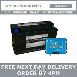 110Ah Leisure Battery with Smart DC-DC 12V 30A Battery to Battery Charger