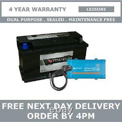 110Ah Leisure Battery with Victron Phoenix 12V 375VA Inverter, Bluetooth Dongle