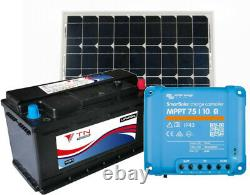 110Ah Lithium Leisure Battery, 115W Solar Panel and MPPT 75/10 Charge Controller