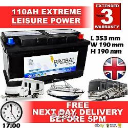 12V 100AH LEISURE BATTERY WithCOVER HEAVY DUTY DEEP CYCLE LOW HEIGHT (105 ah amp)
