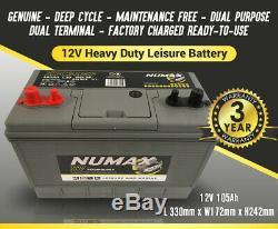 12V 105AH Leisure Battery Numax XV31MF for Motorhome, Caravan & Marine + charger
