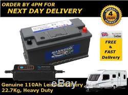 12V 110AH 110 AH Heavy Duty Leisure Marine Battery Solar Deep Cycle & 4A Charger