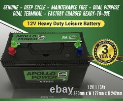 12V 110Ah Leisure Battery XV31MF (equiv) CXV for Leisure (Caravan) & Marine
