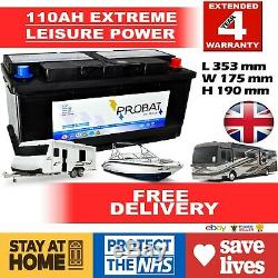12V 110 AH LEISURE BATTERY WithCOVER HEAVY DUTY DEEP CYCLE LOW HEIGHT (105 ah amp)