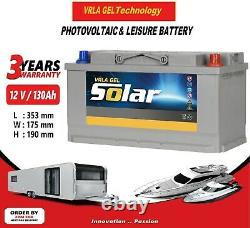 12V 130AH AGM/GEL Deep Cycle Leisure Battery, MOTORHOME, BOAT, SOLAR
