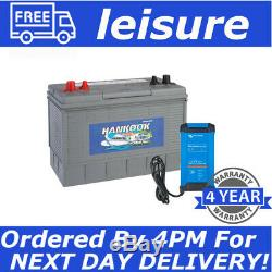 12V 130Ah Deep Cycle Leisure Battery For Camper & Bluetooth IP22 12/15 Charger