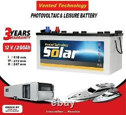 12V 200AH Deep Cycle Leisure battery Marine Caravan Boat Photovoltaic Solar