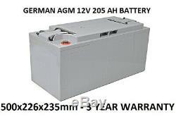 12V 205 AH Lead Acid Battery GERMAN AGM Deep Cycle Leisure Solar UPS Gel 200Ah