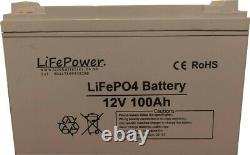 12v 100ah Lithium Leisure Battery LiFePO4 storage, solar, boat, caravan, yacht