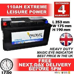 12v 110ah Positive Left Leisure Battery Heavy Duty Low Height (100 Ah Amp) 110