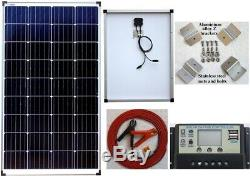 130w Solar Panel +10A LCD 12V battery charger 2 x 5V USB +7m cable Clips bracket