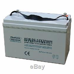 £16 OFF 100Ah 12V Deep Cycle AGM Battery for Leisure, Solar, Wind and Off-grid