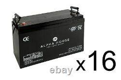 16 x 100Ah 12V Deep Cycle AGM Battery for Leisure, Solar, Wind and Off-grid
