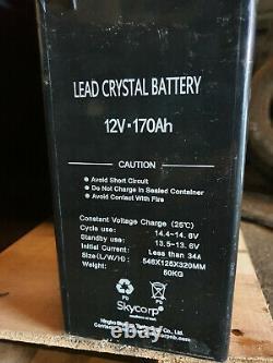 1x Skycorp Solar panel Lead crystal battery 6-CNFT-170 12V 170Ah M8-F leisure B3