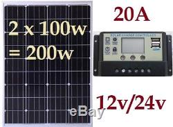 200w 80w 100w Solar Panel + 20A LCD USB Charger Controller 12v & 24v battery