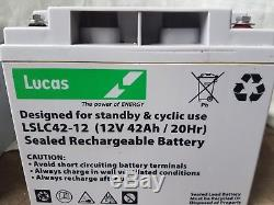 2 X Lucas LSLC42-12 12V 42AH (40AH) AGM/GEL Leisure & MOBILITY BATTERIES USED
