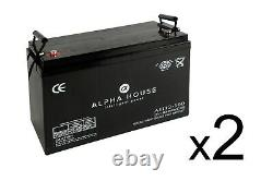 2 x 100Ah 12V Deep Cycle AGM Battery for Leisure, Solar, Wind and Off-grid