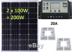 2x 100w = 200w Mono Solar Panel +20A LCD 12V 24V charger 2x USB 5V + con bracket