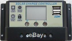 2x 100w = 200w Solar Panel +20A LCD 12V 24V charger USB +brackets +4m cable sets