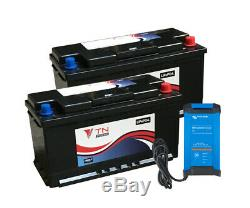 2x 110Ah Lithium Leisure Battery with IP22 12/20 Bluetooth Charger for Camper T5