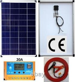 2x 80w = 160w Solar Panel +6m cable + 20A Charger Controller for 24v 12v Battery