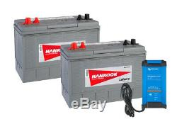 2x XV31 100Ah Leisure Batteries with Victron Blue Smart IP22 Charger 12V 15A