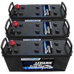 3 x 12v 140ah Deep Cycle Leisure Marine Boat Solar Battery