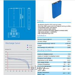 4x 3.2V 12V 72Ah Battery LiFePO4 Calb Lithium for Boat Solar Caravan Leisure