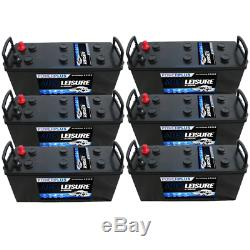 6 x 12v 140ah Deep Cycle Leisure Marine Boat Solar Battery