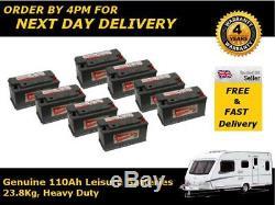 8x Hankook 110Ah 12V Leisure Battery, Low Height, Caravan, Motorhome, Camper Van