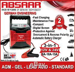 ABSAAR GPA15 12V/24V 6A/10A/15A 3in1 Automatic Leisure Marine Battery Charger