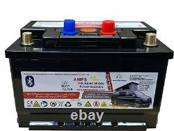AMPS 12V 60Ah Compact Lithium Iron Phosphate Leisure Battery, BLUETOOTH