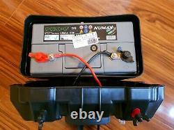 BISON BATTERY BOX + 105ah LEISURE BATTERY USB, LED METER, BREAKER & 12V SOCKET