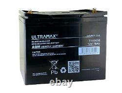Deep Cycle Leisure Ultramax AGM Battery 12V 70AH Caravan Motorhome Marine Boat