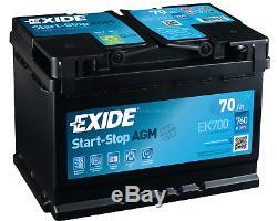 Exide EK700 AGM Car Battery 12V 70Ah EN760A Start-Stop Starterbatterie Car