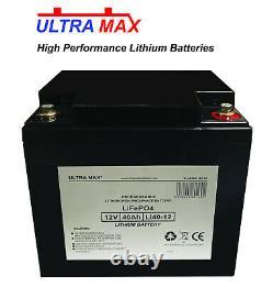LITHIUM LEISURE BATTERY ULTRAMAX 12V 42AH LiFePO4 LITHIUM CARAVAN BATTERY