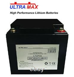 LITHIUM LEISURE BATTERY ULTRAMAX 12V 42AH LiFePO4 LITHIUM MOTORBOAT BATTERY