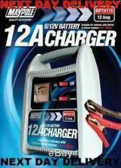 NEW 12A 12 AMP LEISURE CAR MOTORBIKE MOTORHOME CARAVAN BATTERY CHARGER 6v & 12v