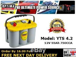 Optima YTS 4.2 Yellow Top Leisure AGM Battery 12V Charged and Ready To Go