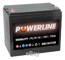 POWERLINE 12V 75AH AGM/GEL Deep Cycle Battery Leisure Caravan Motorhome Marine B