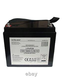 ULTRAMAX 12V 36AH LiFePO4 LITHIUM Leisure Battery for Mobile Homes and Golf Cart