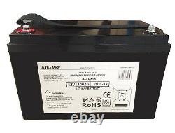 ULTRAMAX LEISURE BATTERY 12V 100Ah LiFePO4 LITHIUM MOTORHOME BATTERIES