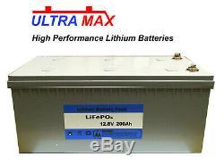 ULTRAMAX LEISURE BATTERY 12V 200Ah LiFePO4 LITHIUM MOTORHOME BATTERIES
