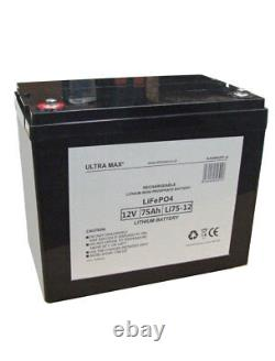 ULTRAMAX LEISURE BATTERY 12V 75Ah LiFePO4 LITHIUM FOR BOATS, YACHTS, CARAVANS
