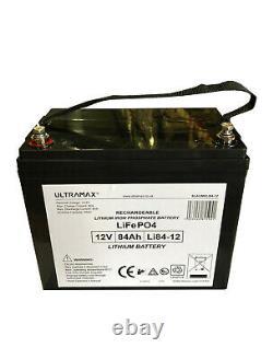 ULTRAMAX LEISURE BATTERY 12V 84Ah LiFePO4 LITHIUM CARAVAN BATTERIES