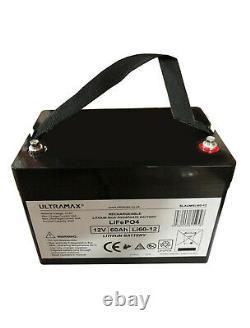 ULTRAMAX LEISURE BATTERY 12v 60Ah LiFePO4 LITHIUM FOR BOATS, YACHTS, CARAVANS