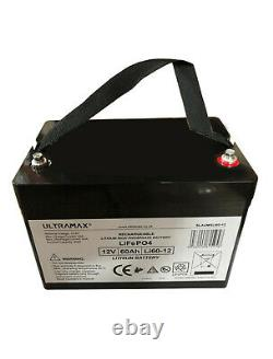 ULTRAMAX LEISURE BATTERY 12v 60Ah LiFePO4 LITHIUM FOR MOBILE HOMES & GOLF CARTS